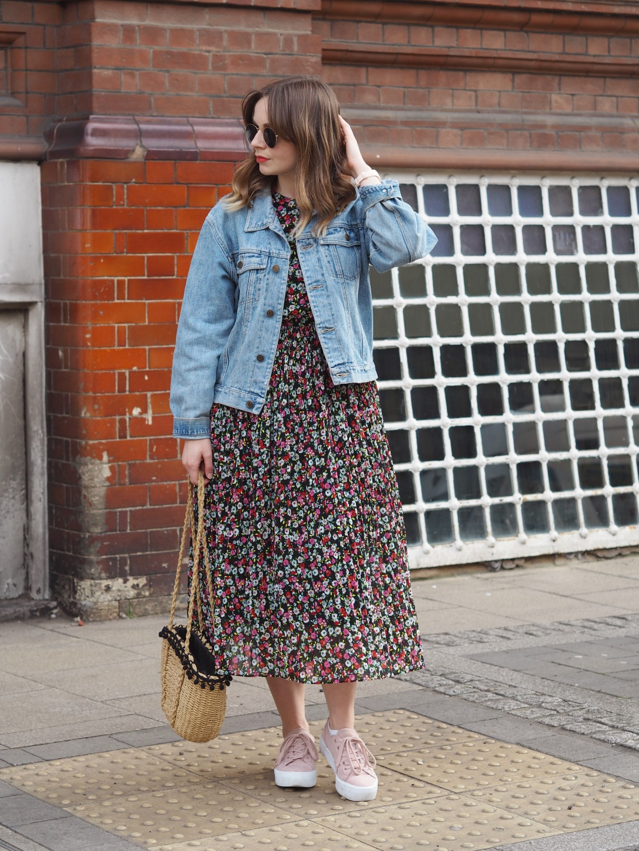 Denim jacket and floral midi dress