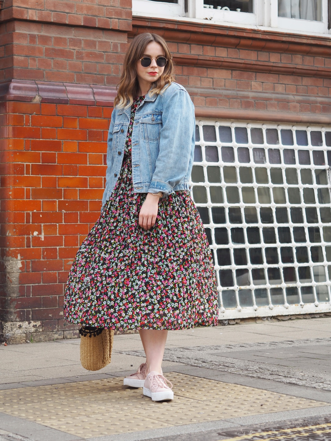 Floral midi dress denim jacket