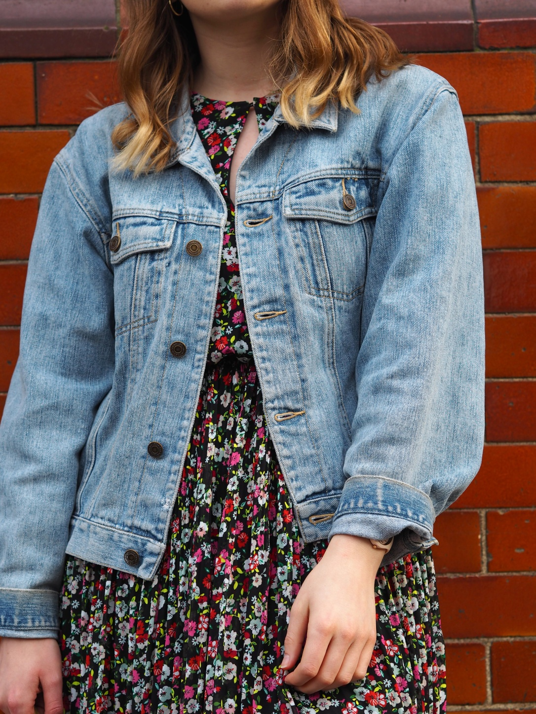 Floral dress and denim jacket