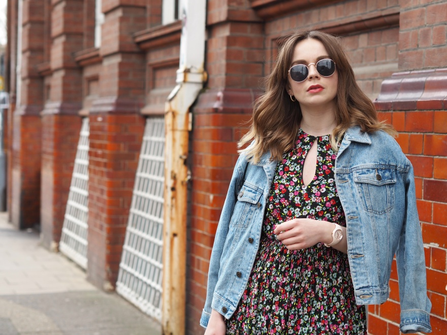 H&M floral midi dress and denim jacket