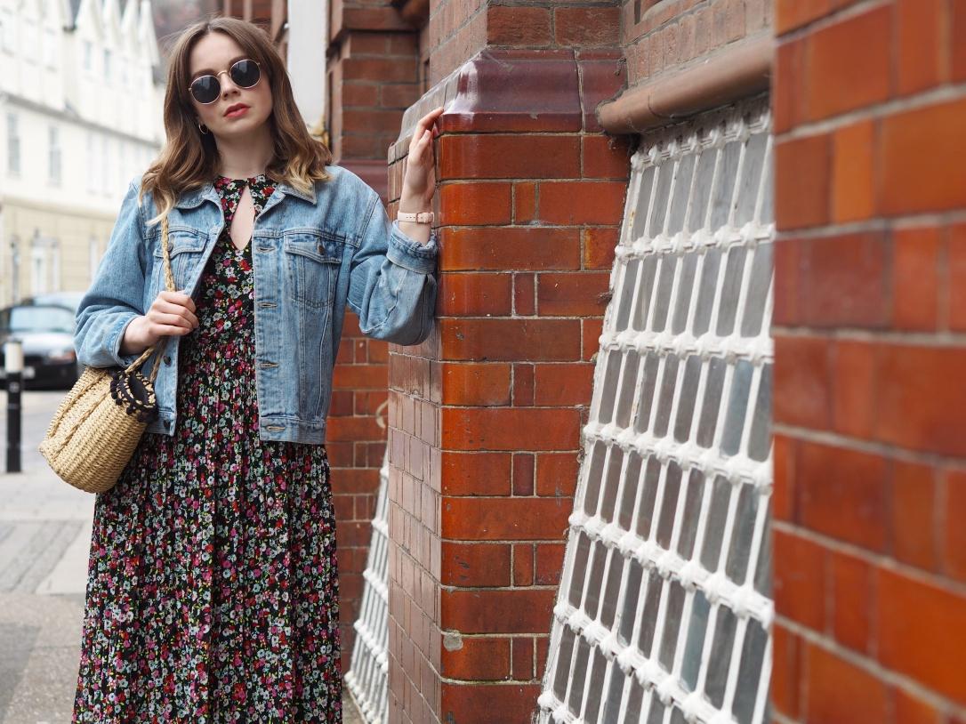 H&M midi dress and denim jacket