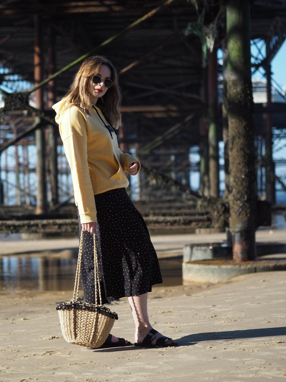 Yellow hoody and midi skirt outfit