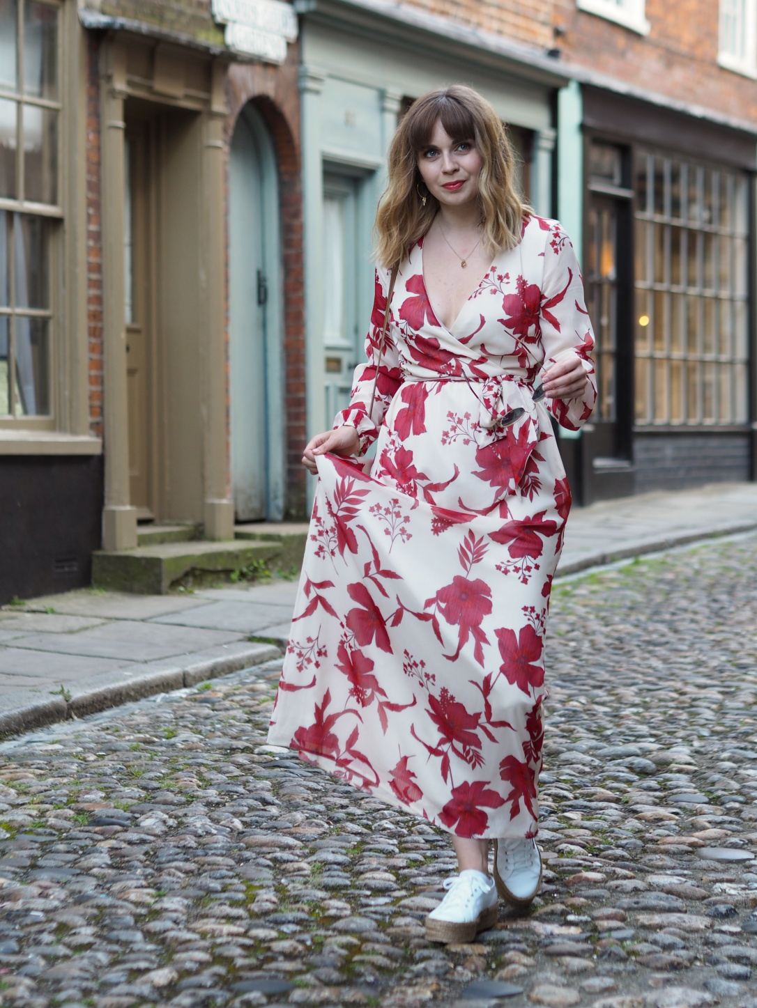Dorothy Perkins floral maxi dress with trainers