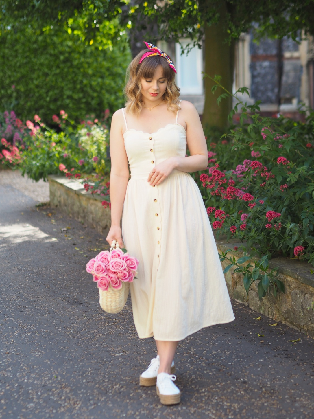 H&M strappy yellow midi dress
