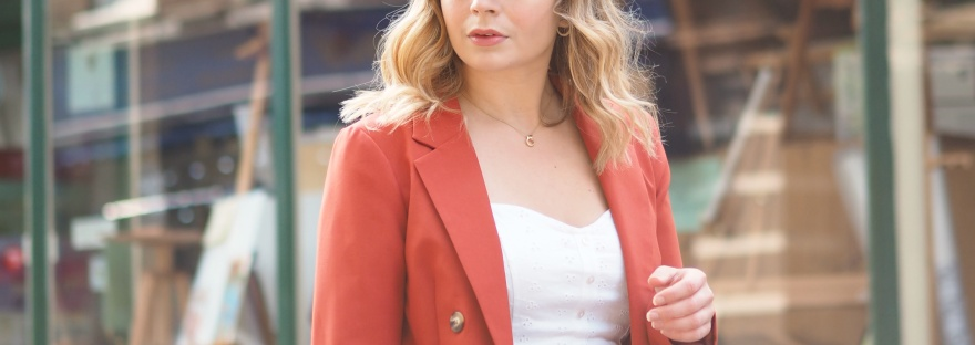 Miss Selfridge orange suit