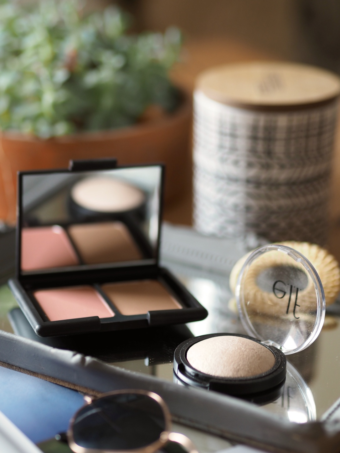 ELF bronzer, blush and highlight
