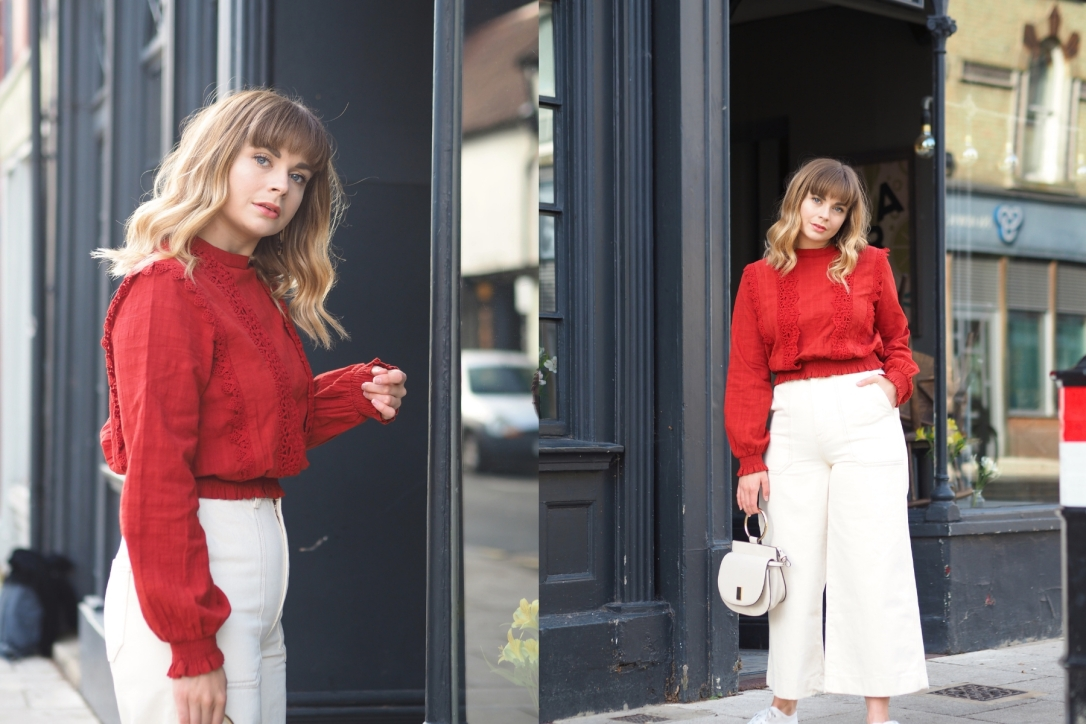 Miss Selfridge red victoriana lace blouse