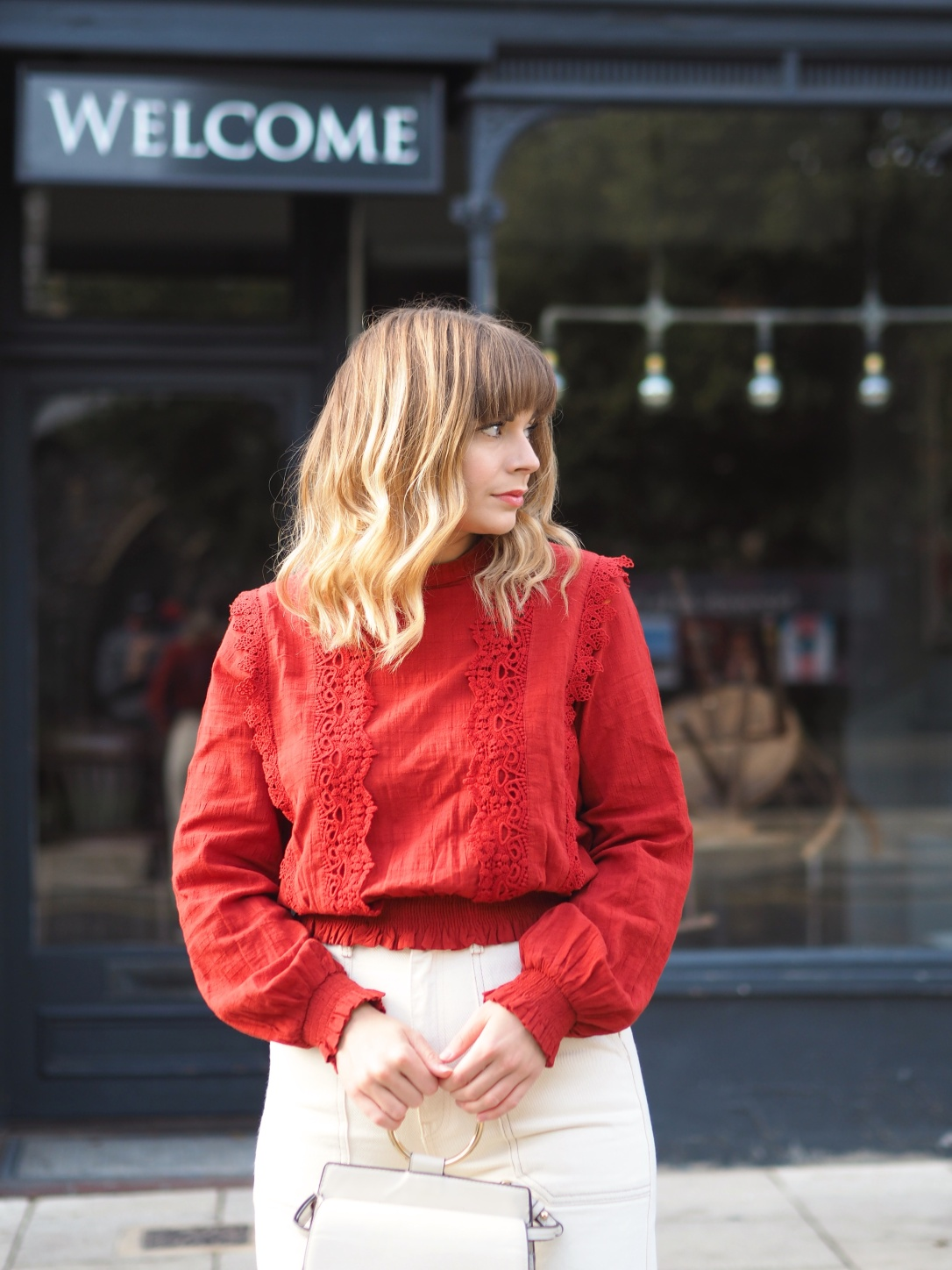 Miss Selfridge victoriana red blouse