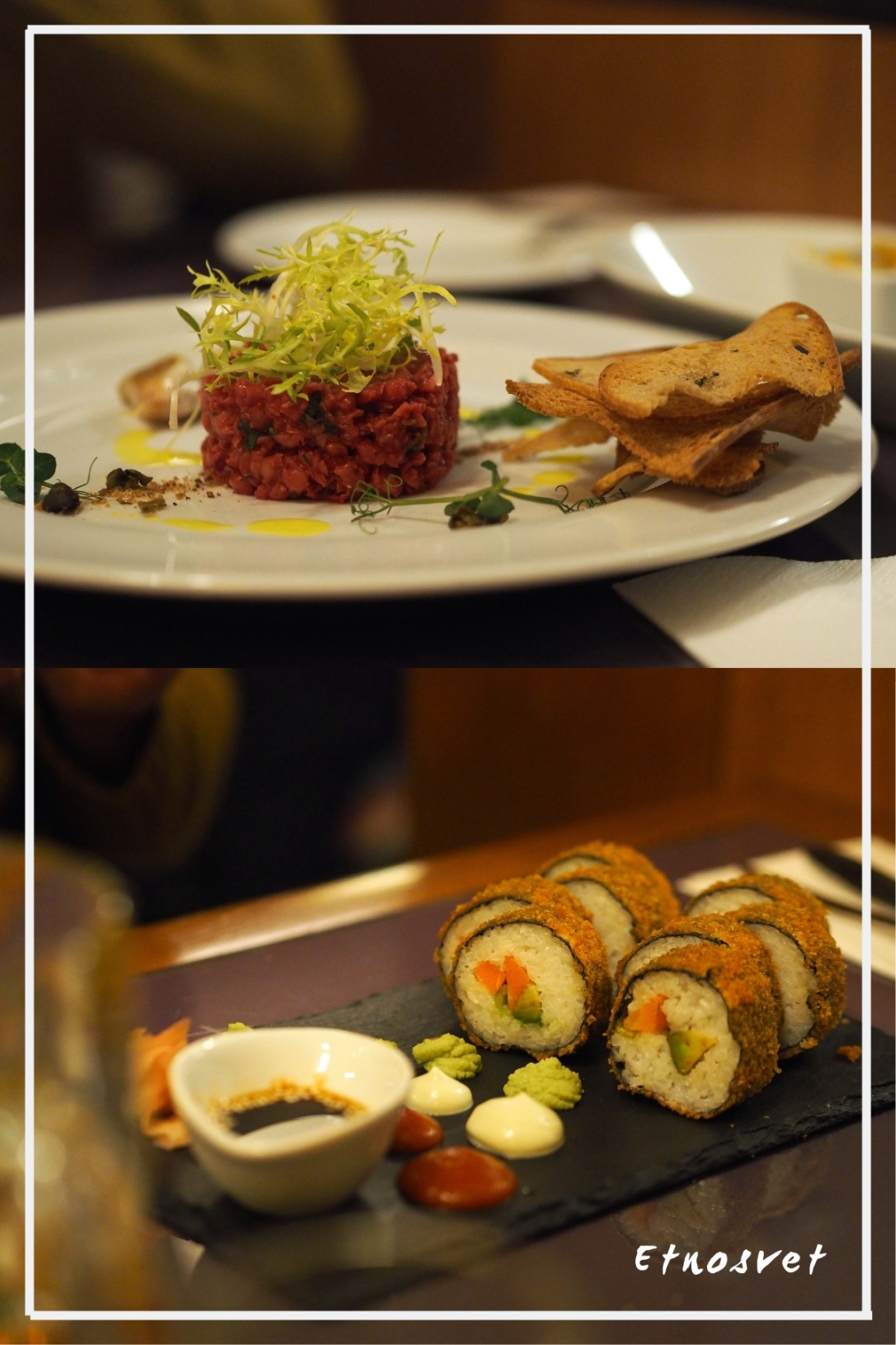 carpaccio and fried sushi at etnosvet vegan restaurant prague
