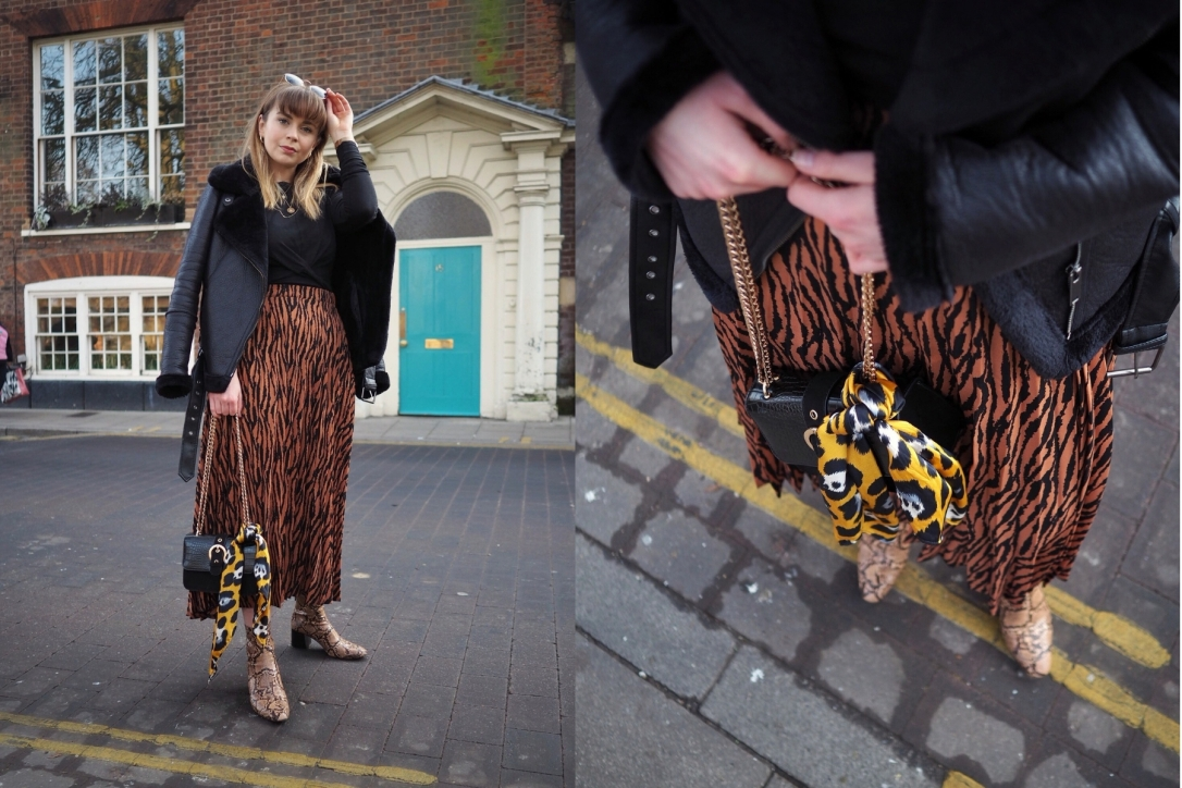Animal print midi skirt work outfit