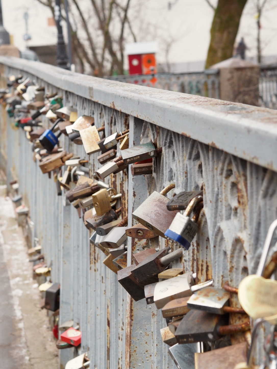 Love locks on a bridge in Vilnius, Lithuania