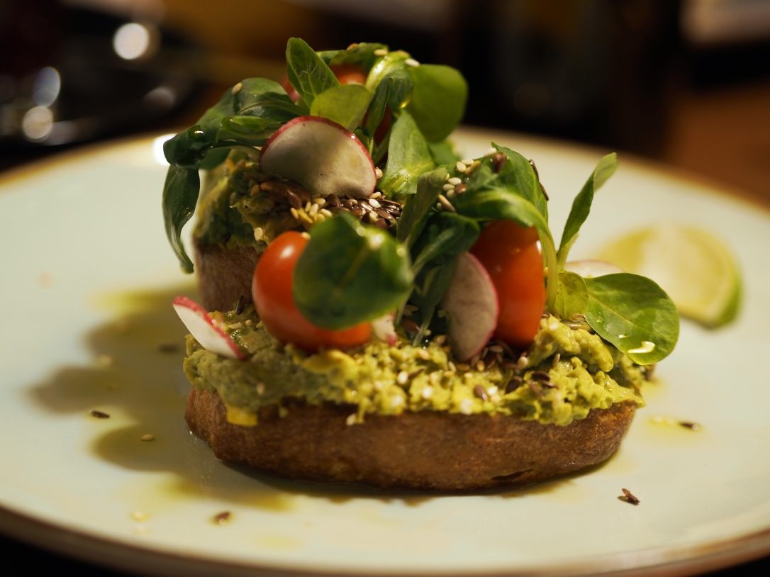 Avocado on toast at Holy Donut in Vilnius, Lithuania - where to eat vegan in Vilnius