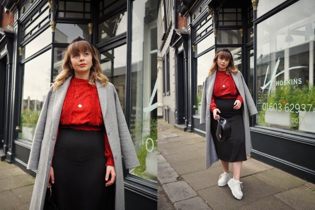 Satin midi skirt work outfit