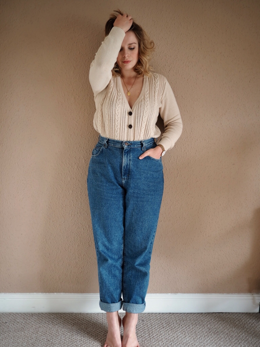 Vintage jeans and cable knit cardigan