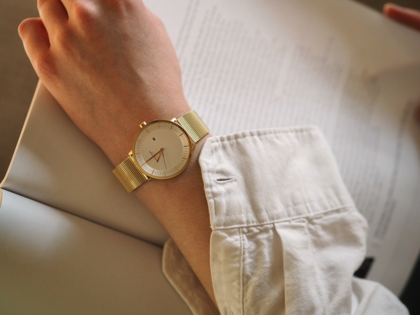 The Philosopher gold watch with 36mm white dial from Nordgreen